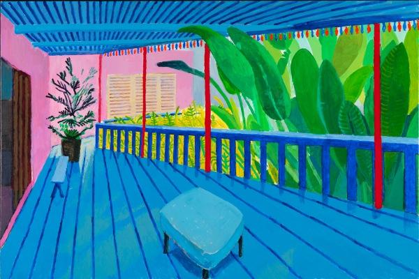 David Hockney. Garden with blue terrace, 2015. Colección privada