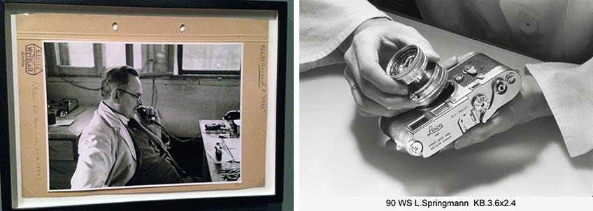 Origen de Leica. Julius Huisgen. Oskar Barnack en su taller en Hausertorwek, c. 1930. Izqda.: Lisel Springmann. Detalle del proceso de construcción de la cámara Leica. Leica camera AG, Wetzlar