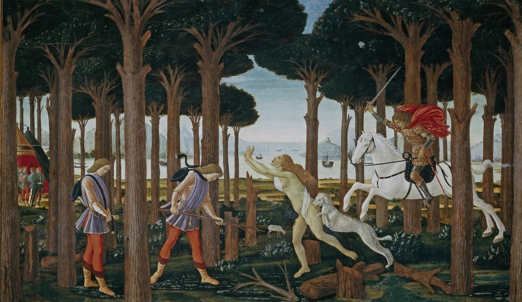 Sandro Botticelli. Escenas de la historia de Nastagio degli Onesti, 1483. Museo Nacional del Prado