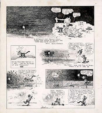 George Herriman. Krazy Kat. Dibujo original para página completa de periódico, 30 de diciembre de 1917. Colección Stoklas, Viena