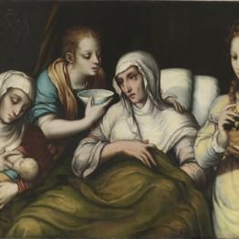 Luis de Morales. El nacimiento de La Virgen, hacia 1562-1567. Madrid, Museo Nacional del Prado