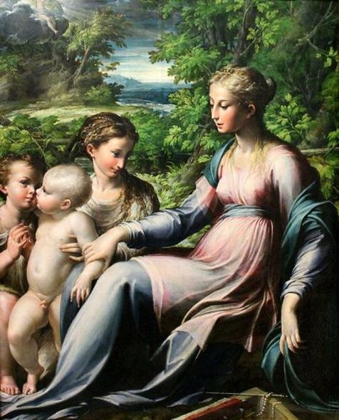 Parmigianino. Virgen con el Niño, San Juan Bautista y María Magdalena, hacia 1530-1540