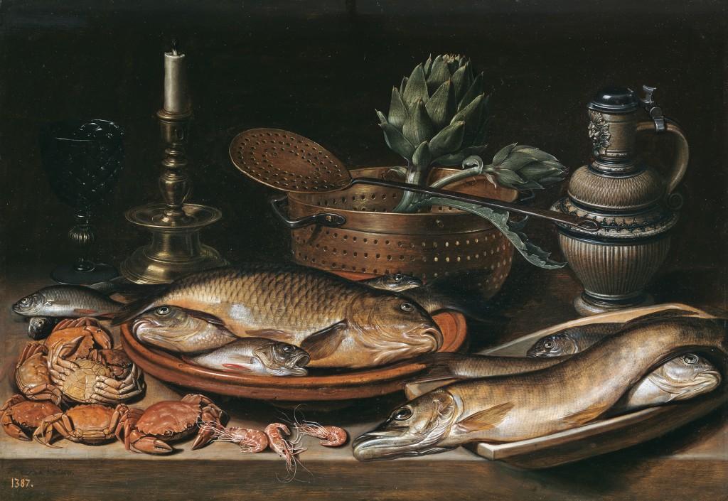 Clara Peeters. Bodegón con pescado, vela, alcachofas, cangrejos y gambas, 1611. Museo Nacional del Prado