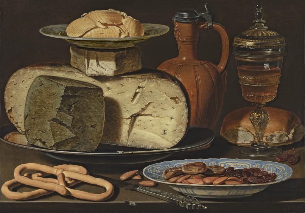 Clara Peeters. Bodegón con quesos, almendras y panecillos, hacia 1612-1615. Mauritshuis, The Hague