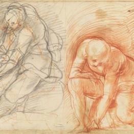 Jacopo Pontormo. Dos estudios de figura inclinada, preparatorios para San Juan Bautista en el desierto. Gabinetto Disegni e Stampe degli Uffizi, Florencia