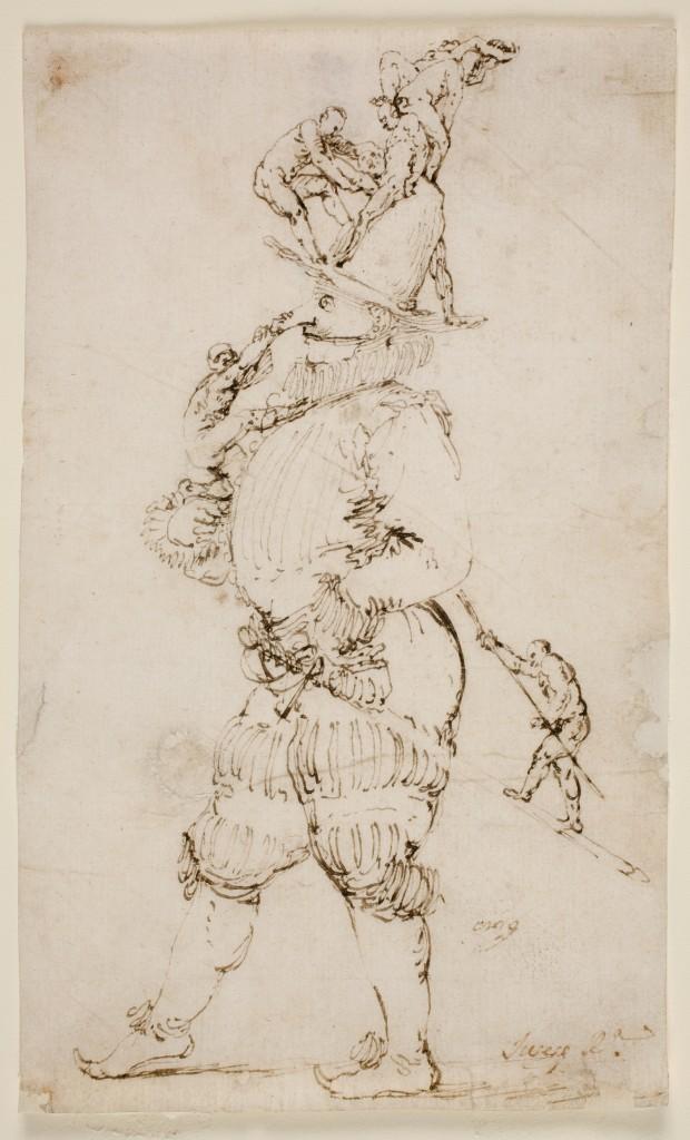 José de Ribera.  Escena fantástica: caballero con hombrecillos subiendo por su cuerpo.  Finales 1620. Madrid, Museo Nacional del Prado