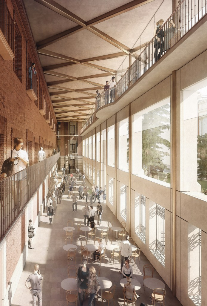 Norman Foster y Carlos Rubio ganan el concurso de rehabilitación del Salón de Reinos, y la ampliación del Museo del Prado. Interior de la galería- atrio de la fachada Sur