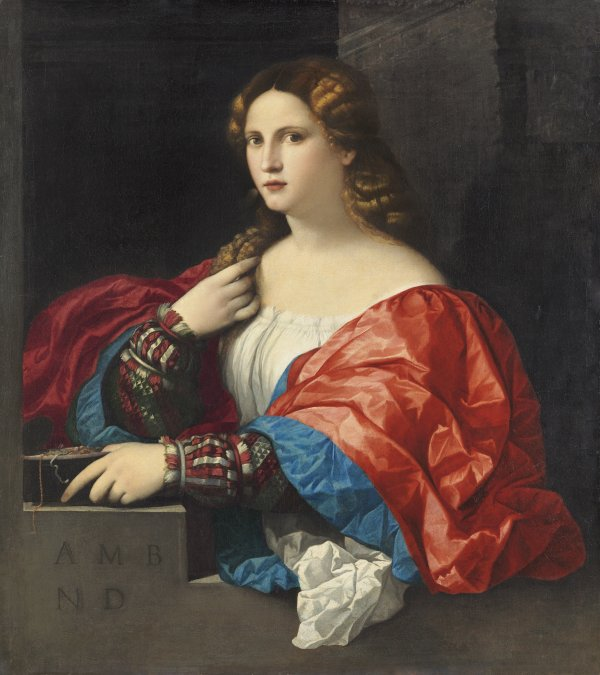 "Palma el Viejo (Jacopo Negretti). Retrato de una mujer joven llamada ""La Bella"", c. 1518-1520"