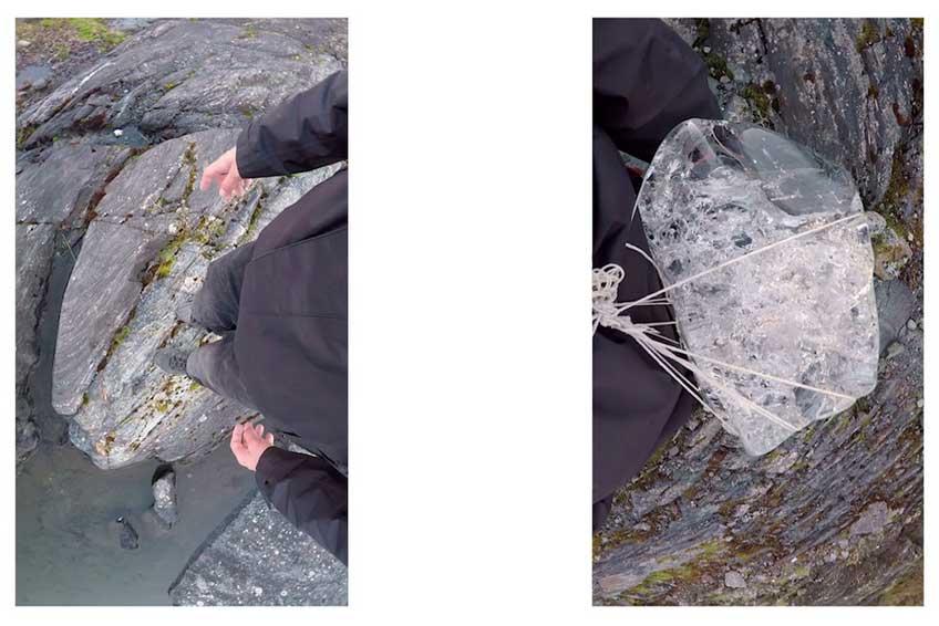 Circuitos de Arte Plásticas de la Comunidad de Madrid. Miguel S. Bastida. Walk like a glacier, 2016 - 2017 Site-specific performance, fotografías, vídeo, documentación y libro
