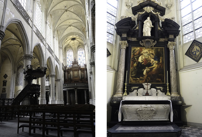 Iglesia de Santiago, Amberes, alberga la Capilla Rubens, donde se encuentra la tumba del pintor