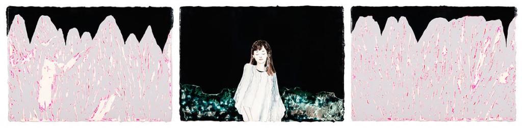 Art Madrid 2017. Chen Yun. Uproar. Gleaming in the fold of vein. Acrílico sobre lienzo 28 x 40cm 3pcs 2016