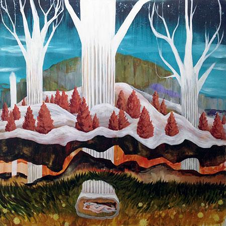 Estampa 2017. Santi Lara. La gruta (serie: roma), 2017. Acrílico sobre lienzo. 170 x 170 cm. Puxagallery