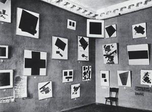 """Obras de Malévich en la exposición """"0,10"""", en San Petersburgo, en 1915"""