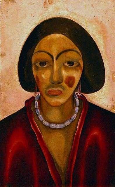 María Blanchard. Mujer con vestido rojo, 1912-1914