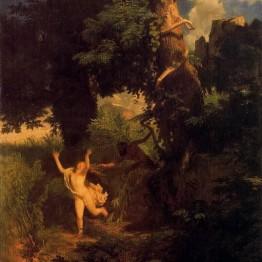 Böcklin. Ninfa huyendo del acoso de Pan