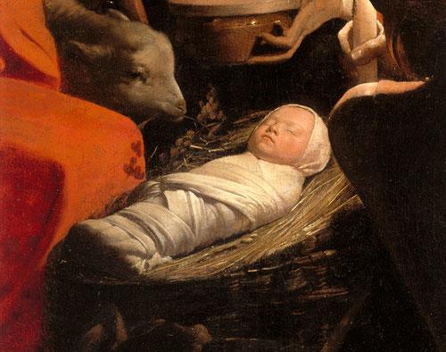 Georges de la Tour. Adoración de los pastores (fragmento). Musée du Louvre
