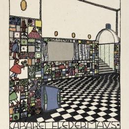 Josef Hoffmann. Barraum. Cabaret Fledermaus. Kärntnerstrasse 33. Wien. Wiener Werkstätte-Postkarte Nr. 74A. Farblithographie.