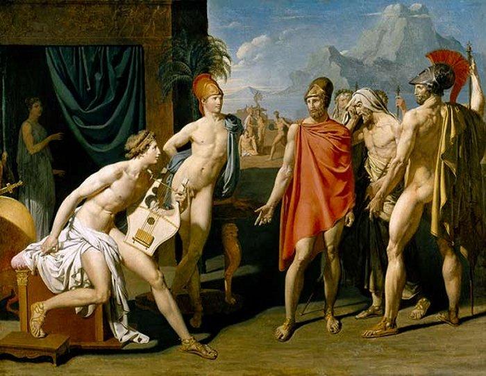 Pintores del Romanticismo. Ingres. Aquiles recibiendo los embajadores de Agamenon, 1801