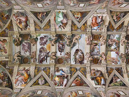 Miguel Ángel Buonarroti, Vista general de los frescos de la bóveda de la Capilla Sixtina, 1508-1512