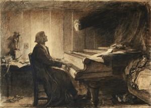 Hubert von Herkomer. Liszt al piano