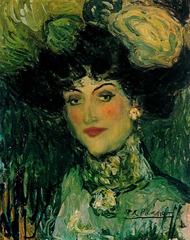 Picasso. Mujer con sombrero de plumas, 1901