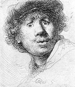 Rembrandt. Autorretrato con los ojos muy abiertos, 1630