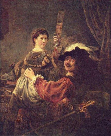 Rembrandt. Retrato con Saskia en las rodillas o Parábola del hijo pródigo, hacia 1635
