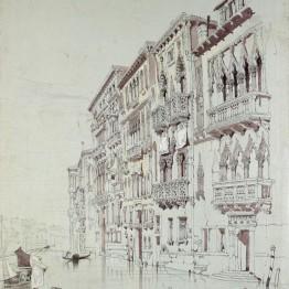 Dibujo de John Ruskin. Palacio Contarini-Fasan de Venecia