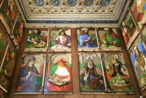 Galería de retratos en el studiolo de Federico de Montefeltro en Urbino