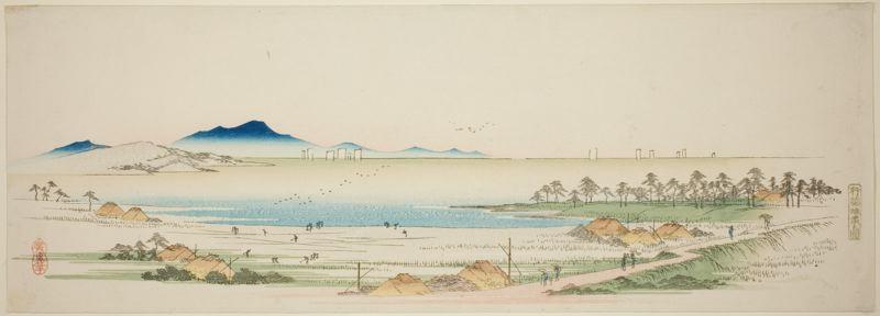 Hiroshige. Playa salina cerca de Gyotoku, hacia 1840