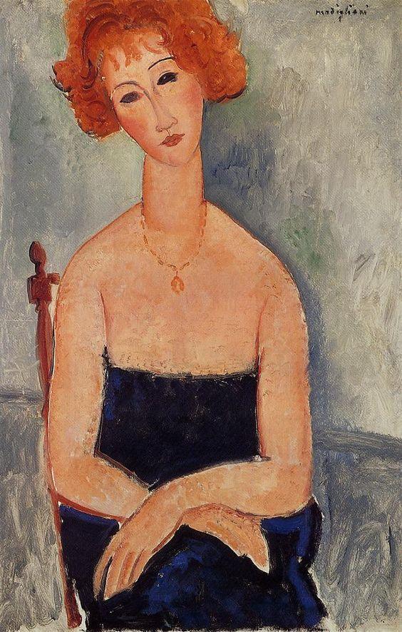 Amedeo Modigliani. La Rousse au pendentif (La pelirroja con el colgante), 1918. Colección Alicia Koplowitz-Grupo Omega Capital