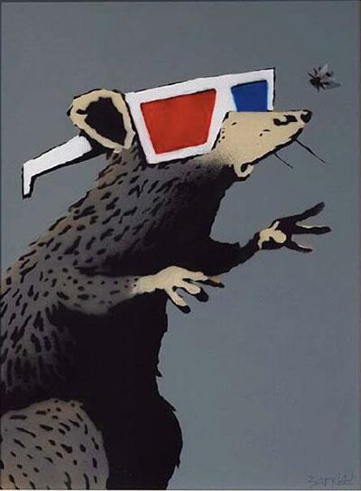 Obra de arte urbano que estará presente en Urvanity. Banksy, Rat with 3D glasses. Vroom Varossieau Gallery