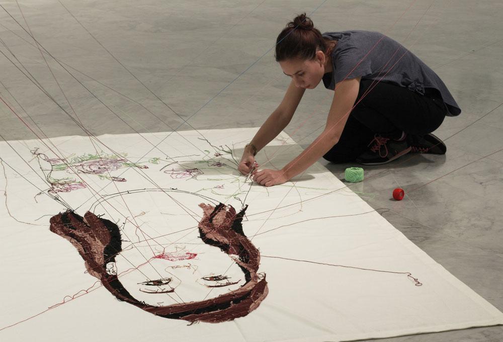 Adassa Santana. Instalación Specto. Red de Retratos, 2016. Sala de arte contemporáneo. Gobierno de Canarias. Fotografía: Daida Suárez