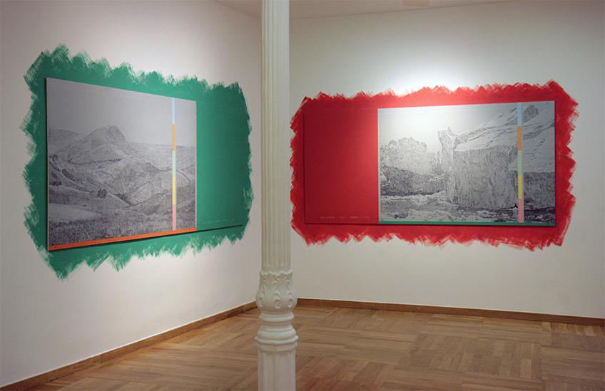 Laura F. Gibellini. Meditaciones Atmosféricas. Antes del presente (338 U-710 U). Vista de instalación en Slowtrack, Madrid, 2017