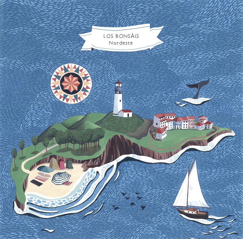 """Imagen realizada par el Mini-LP de Los Bonsáis """"Nordeste"""" editado por Elefant Records"""