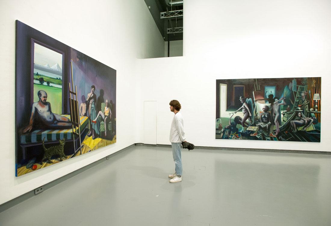 """Vista de la exhibición """"The Last Judgment at School"""" Galerie HGB Leipzig, 2016"""