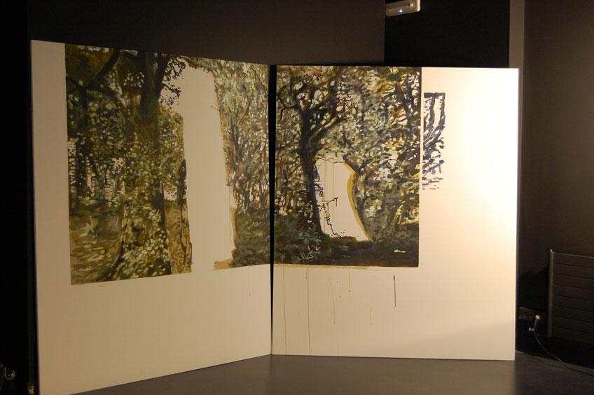 Veva Linaza. Pintura y video proyección de M140913 (Proceso de trabajo). Proyecto Gerizpean. BilbaoArte 2013