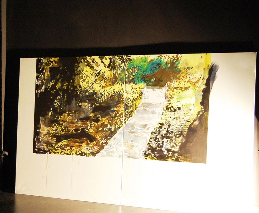 Veva Linaza. Instalación de la pintura Eskailera. Jornada de puertas abiertas. Fundación BilbaoArte 2013
