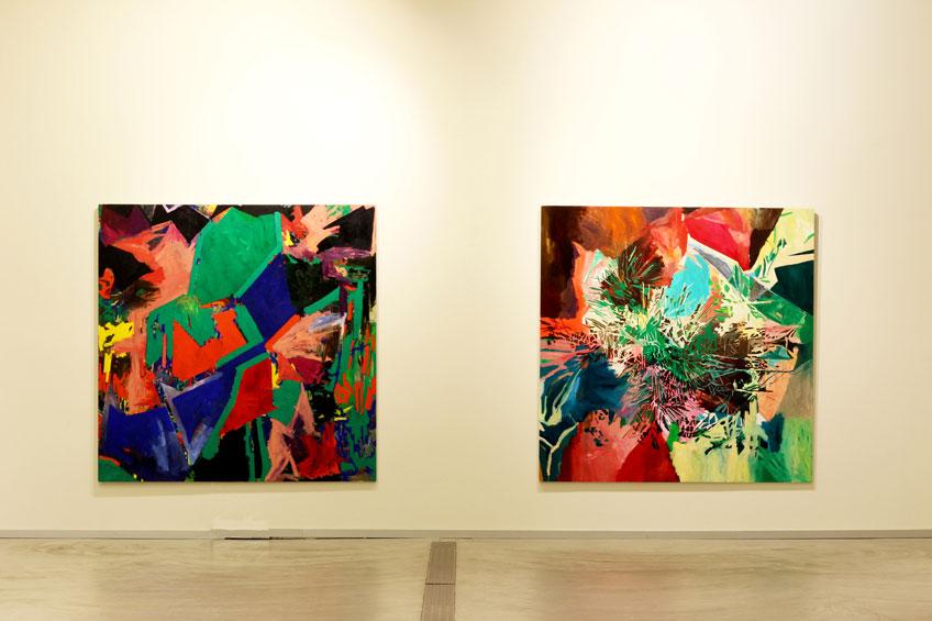 """Veva Linaza. Vista de la exposición """"Alegoriak ez du gorputzik o Alegoría se escribe sin cuerpo"""". Sala Oxford, Zumaia, enero 2018"""