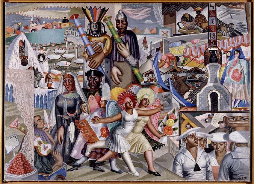 La verbena, de Maruja Mallo. (Viveiro, Lugo, 1902 - Madrid, 1995). 1927, óleo sobre lienzo, 119 x 165 cm.