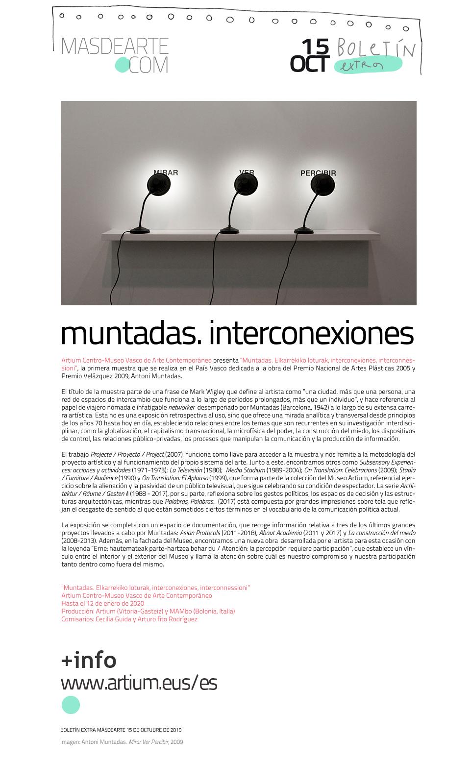 Extra masdearte: Antoni Muntadas. Interconexiones, en ARTIUM. Hasta el 12 de enero de 2020