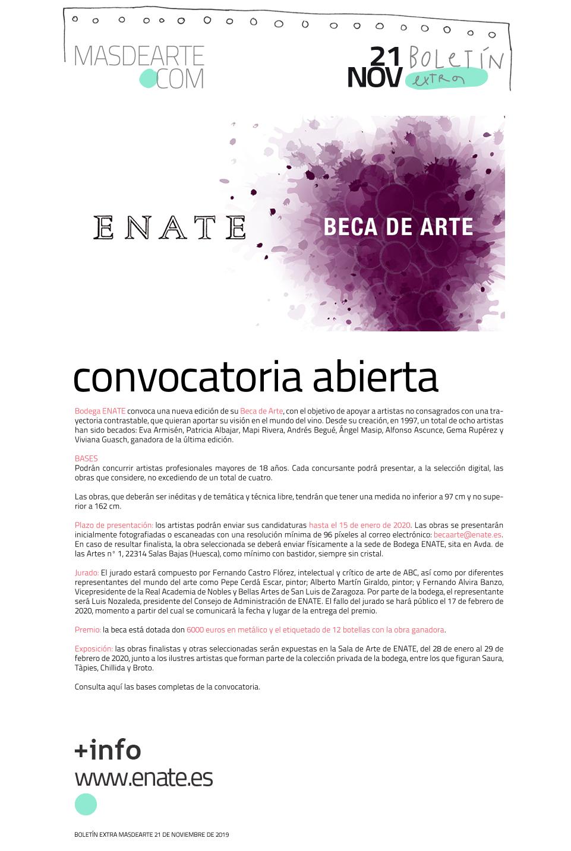 Beca de Arte ENATE. La bodega convoca una nueva edición de su beca,  dotada con 6000 euros. Plazo de presentacion: hasta el 15 de enero de 2020