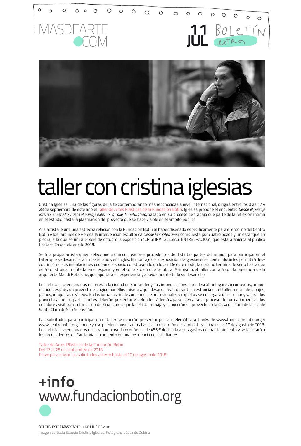 Taller de Artes Plásticas de la Fundación Botín con Cristina Iglesias. Abierta convocatoria