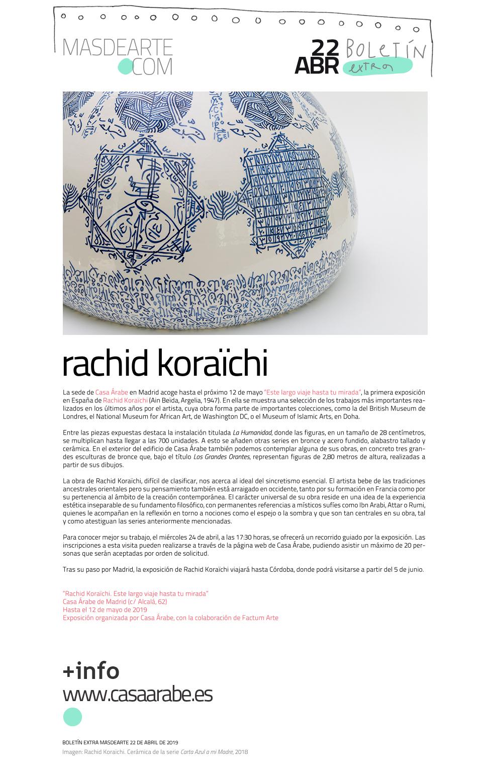 Casa Árabe presenta, por primera vez  en España, el trabajo de Rachid Koraïchi