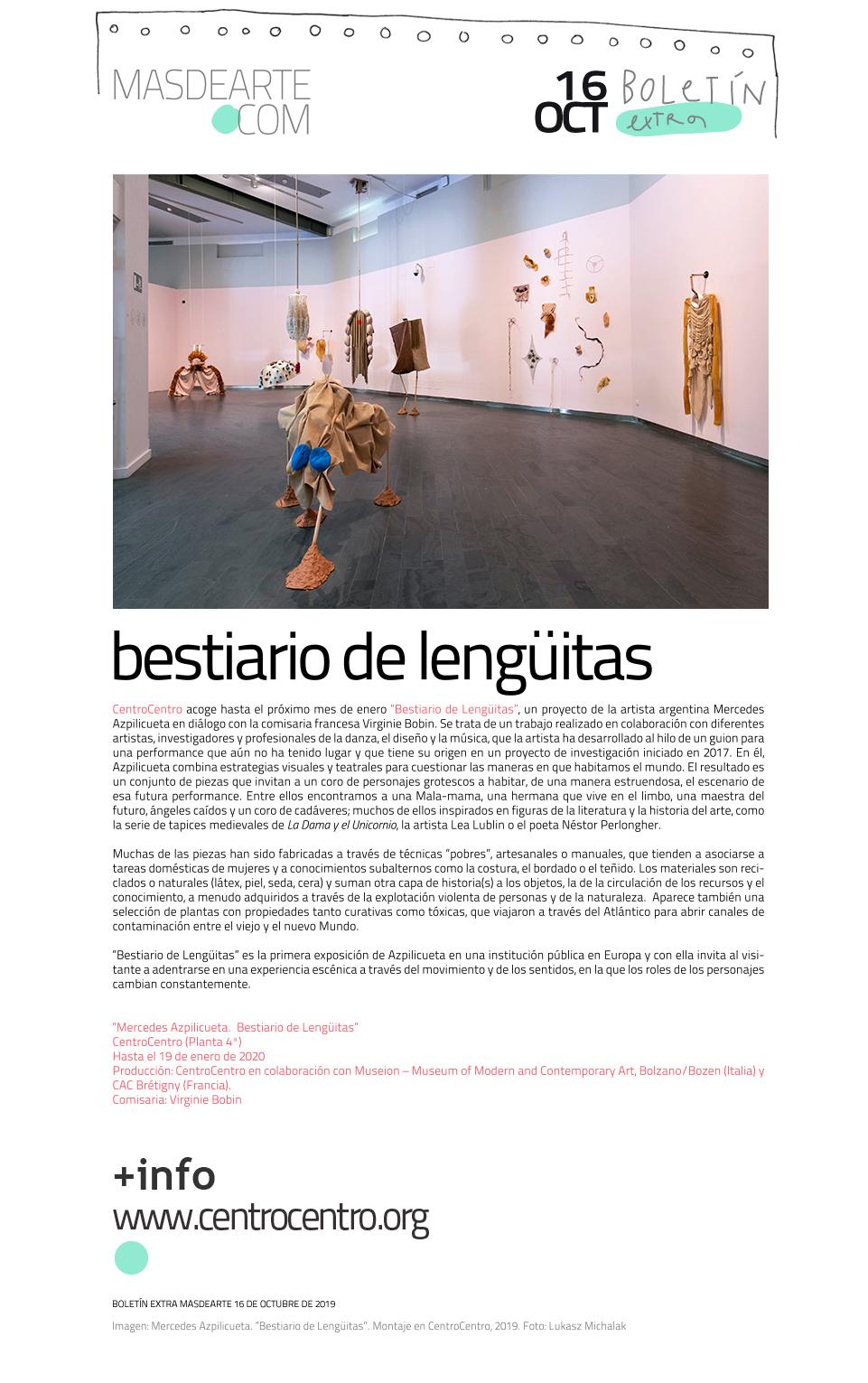 Extra masdearte: Mercedes Azpilicueta presenta su ''Bestiario de Lengüitas''  en CentroCentro