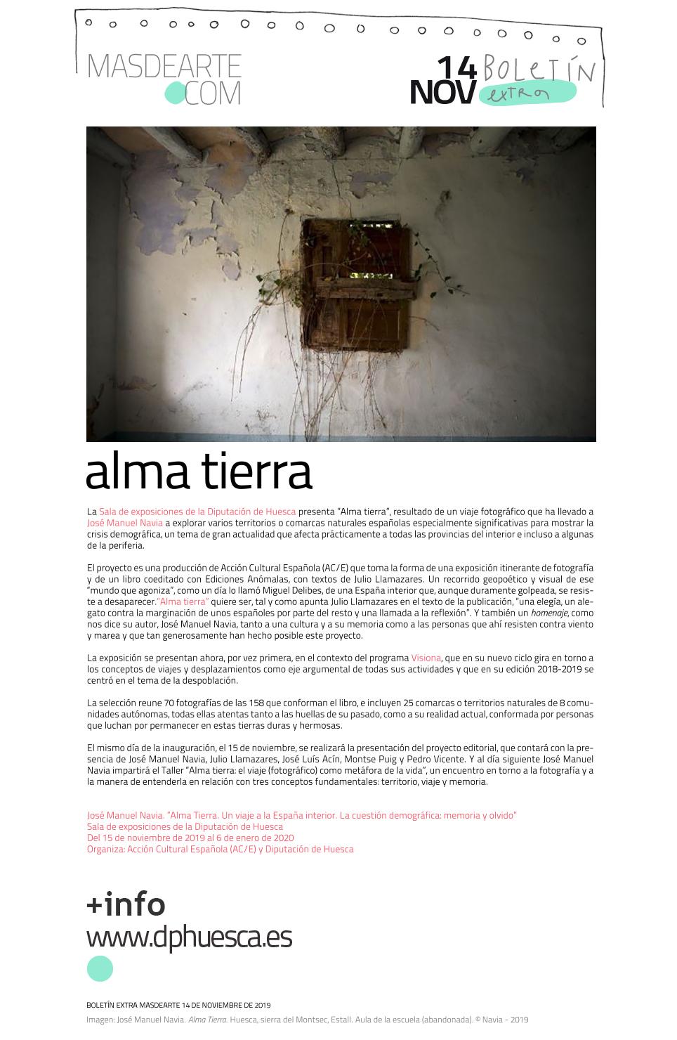 Alma Tierra, un proyecto de José Manuel Navia para VISIONA Huesca. Una exposición, una publicación y un taller en la Diputación de Huesca