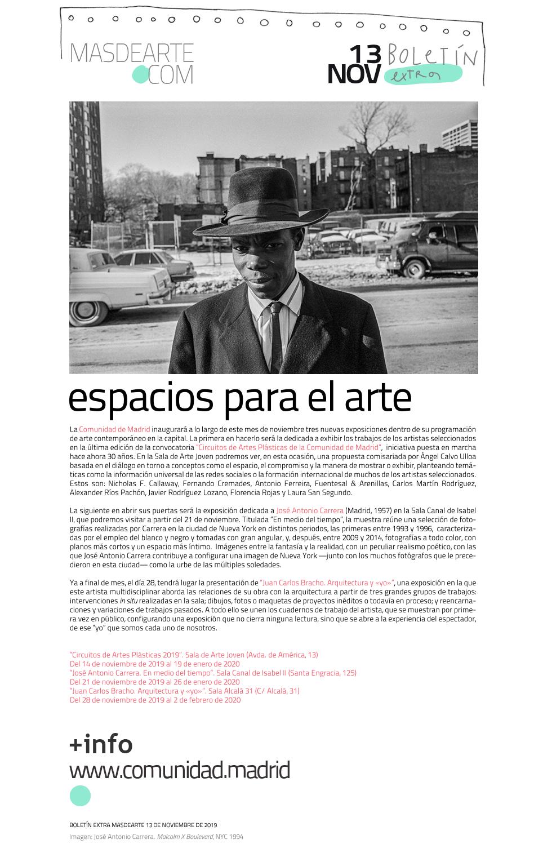 Nuevas exposiciones en las salas de arte de la Comunidad de Madrid. Noviembre 2019. Circuitos de Artes Plásticas 2019, José Antonio Carrera y Juan Carlos Bracho