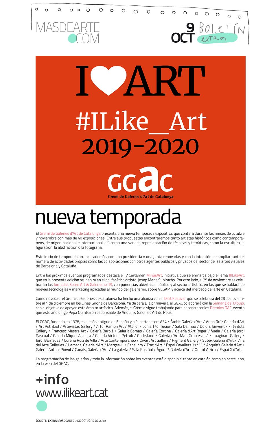 Nueva temporada de exposiciones en las galerías de Cataluña. El GGAC presenta su programación para los meses de octubre y noviembre