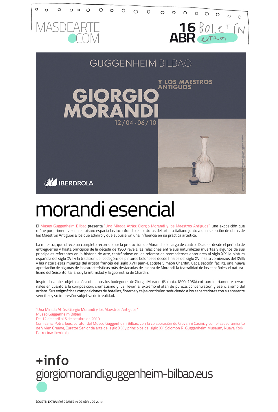 Extra masdearte: Giorgio Morandi y los Maestros Antiguos en el Museo Guggenheim Bilbao