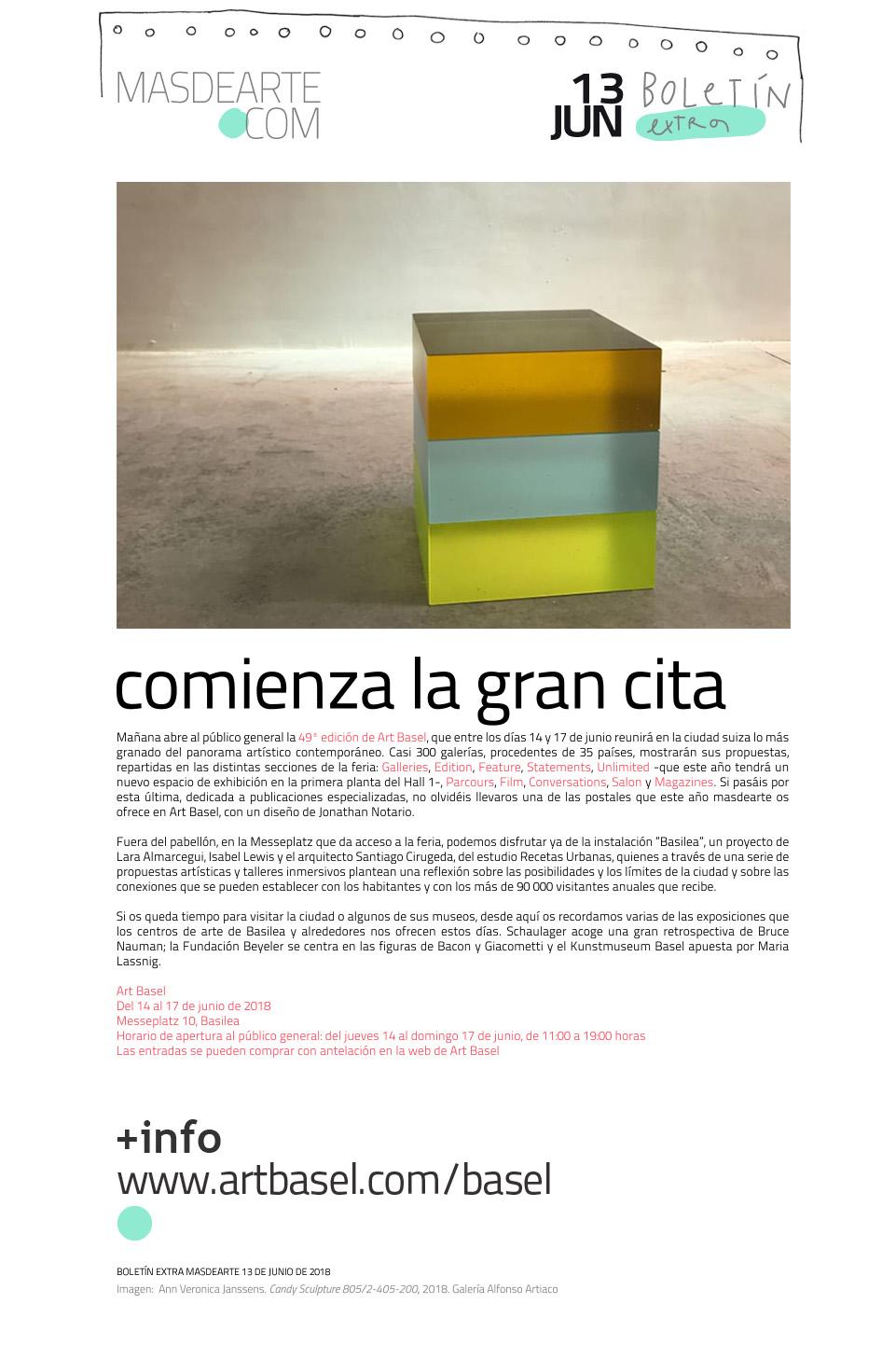 Extra masdearte: arranca Art Basel, la gran cita con el arte contemporáneo.  Del 14 al 17 de junio de 2018
